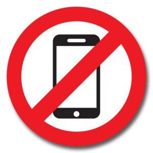 """Наліпка """"Забороняється користуватись мобільним телефоном"""""""